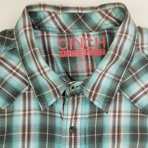 Cinch Modern Fit Pearl Snap Cowboy Shirt Logo Tag